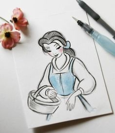 New Disney Art Sketches Princesses The Beast 60 Ideas Disney Drawings Sketches, Cute Disney Drawings, Girl Drawing Sketches, Disney Princess Drawings, Pencil Art Drawings, Cartoon Drawings, Easy Drawings, How To Draw Princess, Belle Drawing
