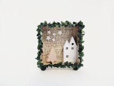 3D shadow box frame -A christmas harvest house- with a light. $28.00, via Etsy.