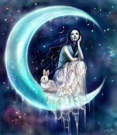 Fan Art of Moon Rabbit & Moon Goddess for fans of Moon. Goddess Art, Moon Goddess, Luna Anime, Moon Fairy, Chinese Mythology, Greek Mythology, Moon Princess, Sun Moon Stars, Rabbit Art
