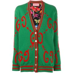 Gucci Gucci Reversible Guccighost Logo Cardigan ($2,110) ❤ liked on Polyvore featuring tops, cardigans, green, reversible top, logo top, green top, v neck tops and long sleeve v neck cardigan