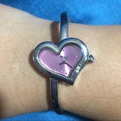 JLo Watch Heart-shaped JLo watch with pink face. Used a few times. Jennifer Lopez Accessories Watches
