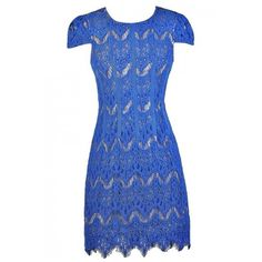 Down The Line Capsleeve Lace Sheath Dress in Bright Blue ($40) ❤ liked on Polyvore featuring dresses, lace, lily boutique, blue dress, lace cap sleeve dress, eyelash lace dress, cap sleeve sheath dress and blue cap sleeve dress