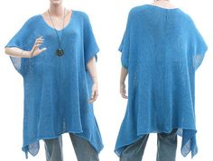 Handmade large knitted ribbon sweater tunic top for by classydress, $155.00