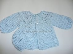Marumin Crochet: Chaquetita celeste canesu redondo calado básico/ Basic round yoke light blue baby sweater