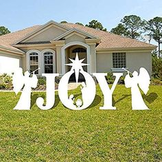 Joy Nativity Scene Christmas Lawn Display - Christmas Yard Decoration, With Stakes - 4 Color Options Christmas Lawn Decorations, Christmas Yard Art, Christmas Wood, Holiday Decor, Christmas Ideas, Yard Decorations, Western Christmas, Merry Christmas, Christmas Displays