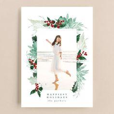 Christmas Photo Cards, Holiday Cards, Christmas Holidays, Christmas Decorations, Painted Leaves, Photo Layouts, Holiday Photos, Custom Photo, Festive