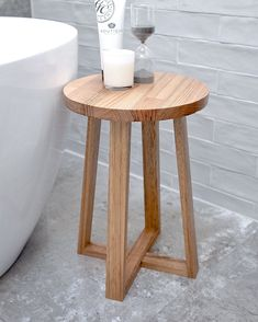 Handmade in Australia by Jemmervale Designs. Find it in their Etsy store. Handmade in Australia by Jemmervale Designs. Find it in their Etsy store. Small Round Side Table, Small Coffee Table, Coffee Tables, Wooden Stool Designs, Wooden Stools, Wooden Bedside Table, Bedside Stool, Wood Nightstand, Bath Stool
