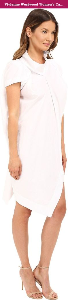 Vivienne Westwood Women's Cave Mini Dress Optical White Dress 44 (US 8). Structured cowl neckline. Boxy cap sleeves. Offset asymmetrical pleating throughout. Pull-on construction. Asymmetrical hemline. 100% cotton. Hand wash cold. Made in Italy. This item may ship with an attached security tag. Merchandise returned without the original security tag attached or a damaged tag may not qualify for a.