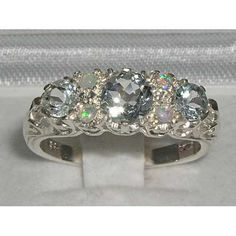 925 Solid English Sterling Silver Natural Aquamarine & Opal Filigree Victorian Trilogy Style Promise Ring - Made in England - Customizable