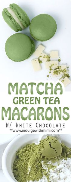 Recipe for Matcha Green Tea INFUSED macaron shells with white chocolate. - Recipe for Matcha Green Tea INFUSED macaron shells with white chocolate. Green Tea Dessert, Matcha Dessert, Green Desserts, Matcha Cake, Green Tea Recipes, Sweet Recipes, Fancy Recipes, Green Tea Macarons, Green Tea Cookies