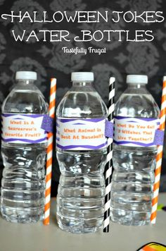 Halloween Jokes Water Bottles | Day 11 of Tastefully Frugal's 13 Frightfully Fun Days of Halloween ad #PureLifeRippleEffect