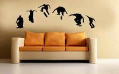Skateboard Vinyl Wall Art Sticker Decal Skateboarding Boys Room Home Decor. $39.95, via Etsy.