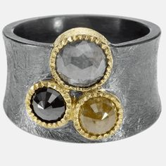 trdr688-c | 18ky gold, sterling silver with patina, rose cut diamonds(3.56ctw)