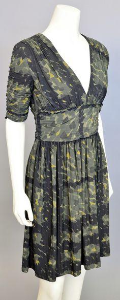 Lot 2: Burberry London silk knit camo dress #Nadeausauction #Socialite #Luxury #Couture #Vintage #Fashion #Auction