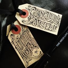 """typeverything: """" instagramlikes: """" Two Planchette Moth tags for the last giveaway with the lovely @bloodmilk - Ink on paper, 2016. ⚔⚔ #aaronhorkey #bloodmilk…"""