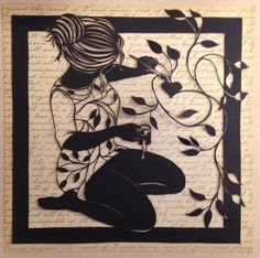 Sold Original handcrafted paper cut girl painting by DESIGNPAPER