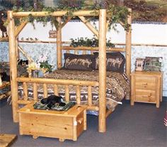 Amish Rustic Pine Log Furniture Canopy Bed