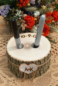 Wood PEN HOLDER Guest Book Wedding Table Wood by theflowerpatch
