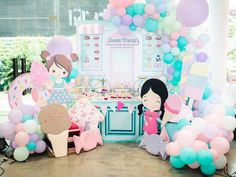 Jillian and Jilleen's Sweet Shoppe Themed Party – Birthday Balloon Cupcakes, Mini Cupcakes, Cupcake Centerpieces, Events Place, Purple Table, Mini Balloons, Glitter Force, Party Needs, Wonderland Party