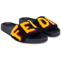 cheap best sale official for sale Fendi logo patch slider sandals discount amazon great deals for sale m8zJKpj