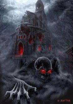 Now, THIS is one creepy piece of art. Photo Halloween, Halloween Gif, Halloween Pictures, Halloween Wallpaper, Happy Halloween, Halloween Town, Halloween Pumpkins, Dark Fantasy Art, Fantasy Kunst