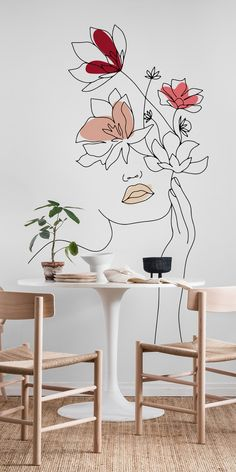 Line Art Woman With Flowers 1 wall mural from Happywall Wall Painting Decor, Mural Wall Art, Art Decor, Diy Home Decor, Decor Ideas, Wall Painting Flowers, Creative Wall Painting, Craft Ideas, Diy Wand