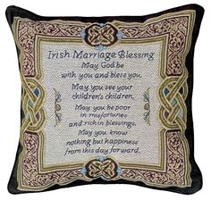 With its beautiful Celtic border and lovely Irish Blessing this woven polyester and cotton tapestry pillow will be a meaningful gift for the wedding couple. Pagan Wedding, Celtic Wedding, Wedding Couples, Wedding Ideas, Wedding Stuff, Celtic Border, Celtic Images, Irish Blessing, Meaningful Gifts
