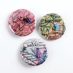 Hello Button Series - Great gift idea for the world traveller in your life. Available at miniaturesforamodernworld.com