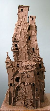 Cardboard Sculpture, Cardboard Art, Sculpture Art, Sculptures, Clay Houses, Ceramic Houses, Miniature Houses, Ceramic Pottery, Ceramic Art
