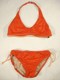 DKNY-Swimsuit-Swimwear-Swim-Bikini-Set-10-Halter-Red-Orange-USA-Made