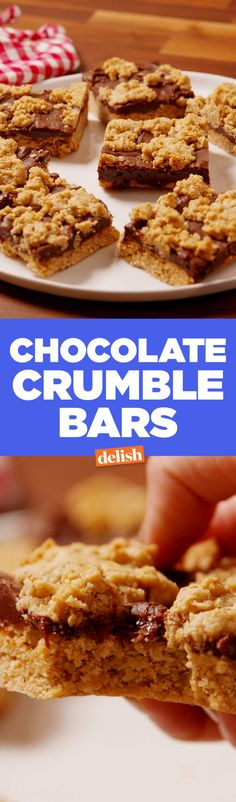 Chocolate Crumble Bars  - Delish.com