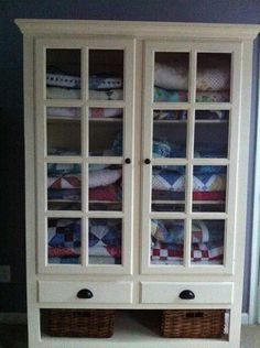 My quilt cabinet. Quilt room.