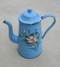Old French Enamelware Coffee Pot on Etsy, $135.00