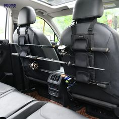 This back seat fishing rod holder keeps rods up and out of the way, no tangles and interference. Made of practical nylon cloth, with soft neoprene rod wraps. This fishing rod holder hangs across the headrests of your vehicle, no tools required. One size fits most, not limited by vehicle types, 3 rod capacity. These fishing rod holders keep your rods in place, leaving the rear seat to be used for sitting. Portable Fishing Rod, Fishing Pole Storage, Fishing Pole Holder, Fishing Tools, Going Fishing, Fishing Tackle, Fishing 101, Fishing Supplies, Fishing Stuff