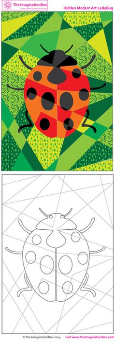 Lovely ladybugs/ladybirds - this creative 'modern art' challenge is free to download - explore color, pattern and shape