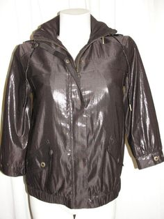 Chicos Womens Size 0 S/4/6 Dark Brown Foil Light Weight Snap Zip Jacket 3/4 Slv #Chicos #BasicJacket #Casual