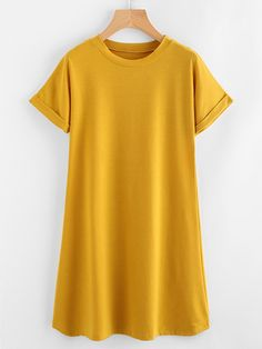 To find out about the Rolled Sleeve Basic Tee Dress at SHEIN, part of our latest Dresses ready to shop online today! Plus Size Dresses, Dresses For Sale, Short Sleeve Dresses, Dresses With Sleeves, Dress Sale, Maxi Dress With Slit, Tee Dress, Occasion Maxi Dresses, Yellow Tees