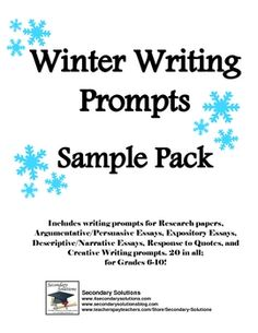 FREE collection of writing prompts AND creative writing prompts to celebrate winter!Includes writing prompts for Research papers, Argumentative...