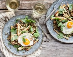 How good does this Lentil, Parsnip + Walnut Salad With Fried Eggs look?