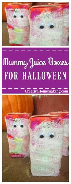 Mummy juice boxes for Halloween. One of my favorite Halloween snacks for kids or teens for Halloween parties. Halloween Themed Food, Halloween Snacks For Kids, Halloween Projects, Halloween Themes, Halloween Parties, Fall Halloween, Fun Activities For Kids, Easy Crafts For Kids, Easy Treats To Make