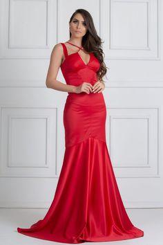 77449d5b58 Santorine Red é um deslumbrante vestido vermelho com calda sereia e decote  com detalhe em tiras