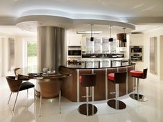 Kitchen Gorgeous Contempo Divine Design Kitchens With Small Oval Breakfast Table Attach On Chrome Pillar And