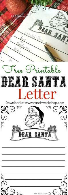 Dear Santa Letter for kids -Free Printable!