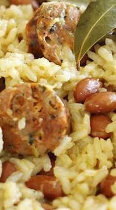 One-Pot Brazilian Beans and Rice with Sausage - flavorful and harty. Veggies on the side a must.