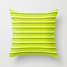Lime Green Stripes Throw Pillow by Texture - $20.00