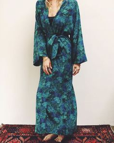 Asteria dressing gown in Emerald Bay Liberty of London silk art print. Liberty Store, Carnaby Street, Silk Art, Liberty Fabric, Liberty Of London, Storyboard, Dress Making, Retro Vintage, Emerald