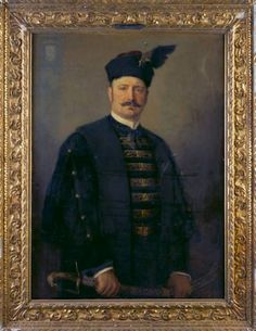 Count András Bethlen 1896  Standing half-length to the right, full face, wearing a black díszmagyar, the ceremonial dress of a Hungarian nobleman,a hat with a black feather (in a feather- holder at the front), and holding a curved Hungarian sword before him in both hands Oil on canvas. Philip Alexius de Laszlo.
