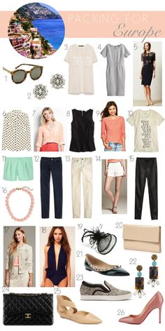 packing for europe. vacation wardrobe for italy and switzerland. spring summer vacation wardrobe outfits