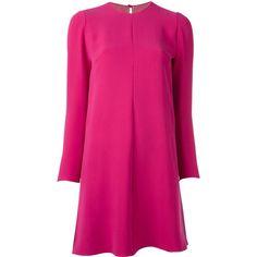 Valentino A-line dress (168.240 RUB) ❤ liked on Polyvore featuring dresses, pink, a line shape dress, keyhole dress, valentino dress, long sleeve a line dress and pink dress