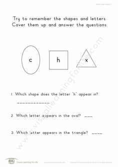 """In the """"Letter Shape Memory"""" worksheets, the student must remember the shapes and the letters so that they will be able to answer the questions when the shapes and letters are no longer visible. Learning For Life, Visual Learning, Visual Memory, Try To Remember, Comprehension, Worksheets, Teacher, Student, Letters"""